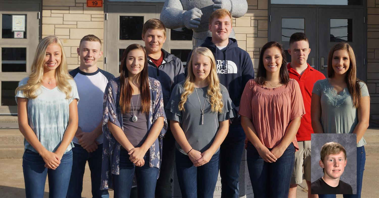 Homecoming queen candidates are (front row, from left) Addie Blechle, Kamryn Wingerter, Cara Childs, Shea Petrowske and Ryn Petrowske. King candidates are (back row, from left) Erik Cowell, Chett Andrews, Drake Bollman and Austin Schweizer and (inset) Jakob Cushman.