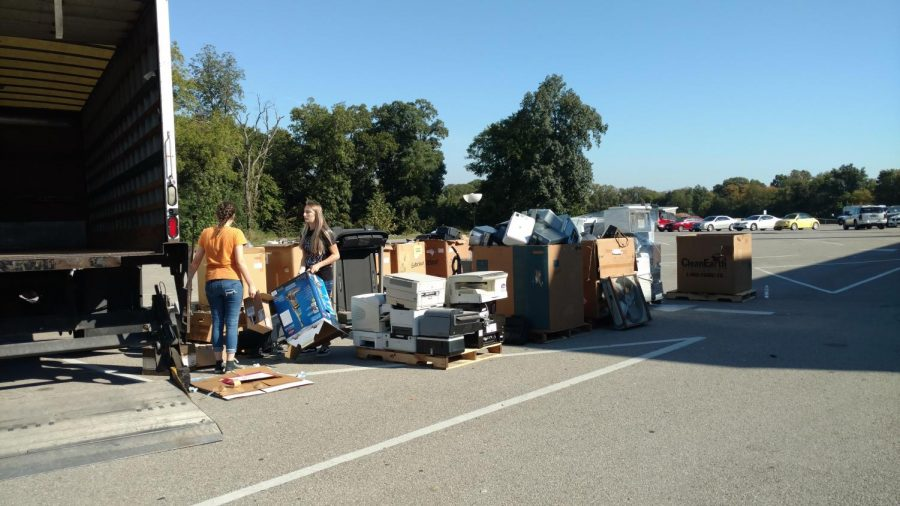 Students collected over 9 tons of electronics during the e-waste drive.