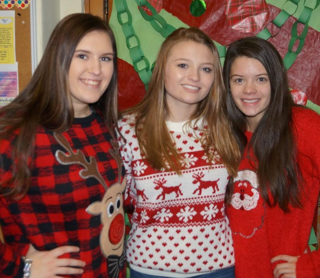 Lauryn Vasquez, Parker Knippa and Ashtyn Jany raided the closet for Ugly Threads Thursday as part of the NHS Christmas Spirit Week.