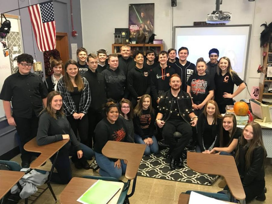 Students+wore+black+in+honor+of+Mr.+Gardners+last+day+at+CHS.