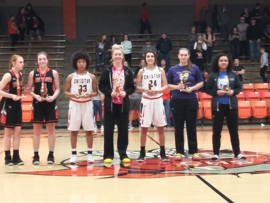 Destiny Williams (33) and Reese Chandler (24) were Chester's selections to the 13th Annual Chester Lady Jackets Mid-WinterClassic all-tournament team.