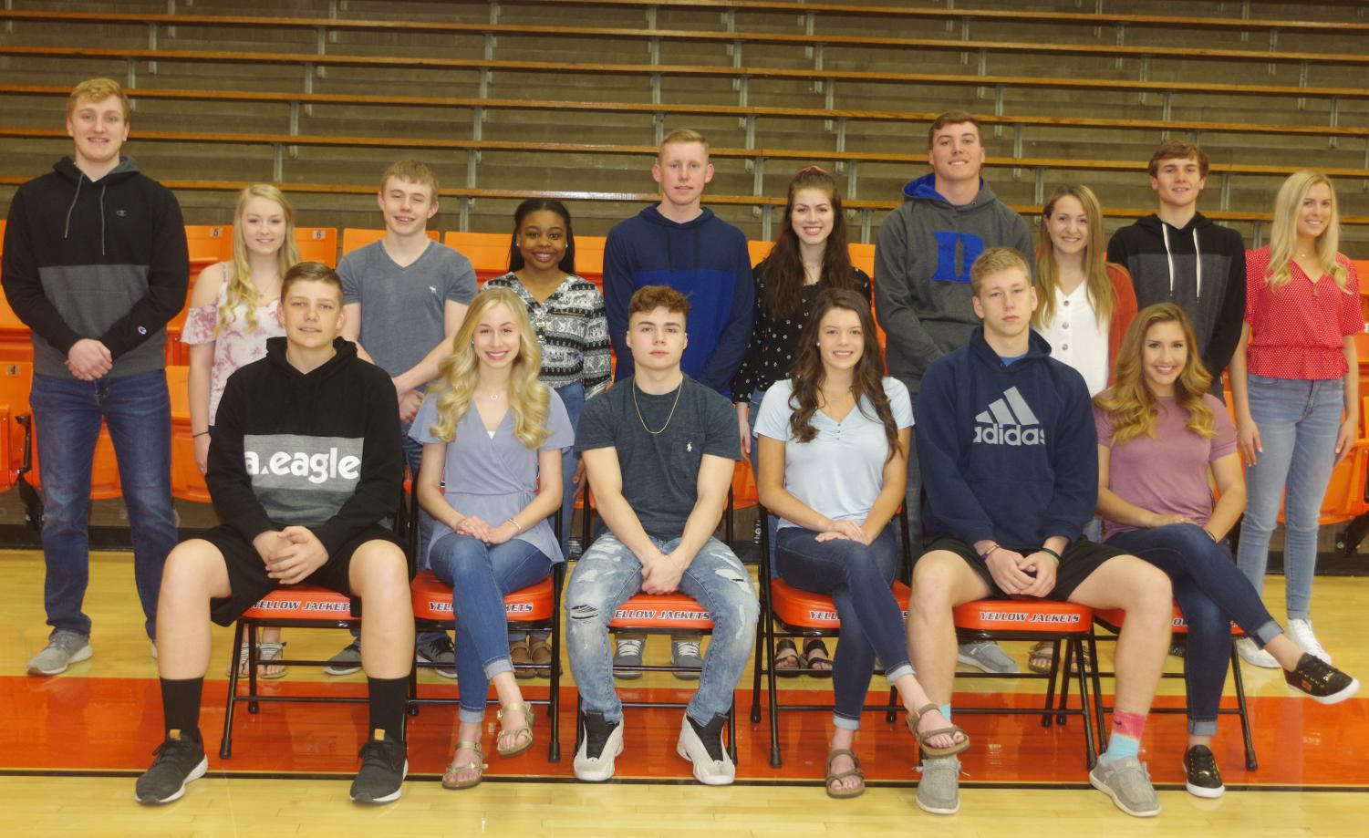 Prom court members are (front, from left) juniors Chett Andrews, Adeline Blechle, Ethan Rayburn, Ashtyn Jany, Ian Reith and Ryn Petrowske' and (back row, from left) Drake Bollman, Cara Childs, Erik Cowell, Sylena Martin, Jakob Cushman, Elizabeth Soellner, Nick Meyer, Carlee Weir, Colin Wingerter and Lauren Welge.