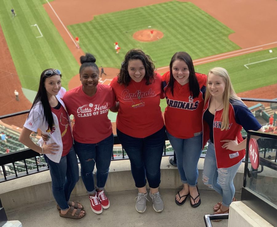 Several+Chester+High+School+seniors+attended+Class+of+2019+Night+At+Busch+Stadium+on+April+22.+Enjoying+a+Cardinals+win+over+the+Brewers+were+%28left+to+right%29+Kamryn+Wingerter%2C+Sylena+Martin%2C+Lexie+Price%2C+Caitlin+Elsea+and+Cara+Childs.