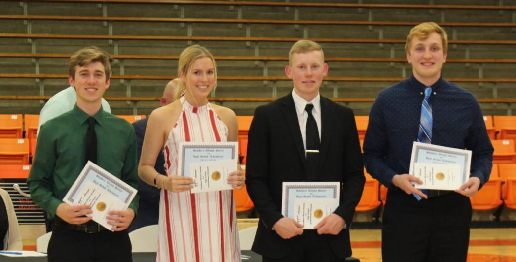 Members of the Class of 2019 who were honored by the Southern Illinois Achievement Society included Jacob Wingerter, Lauren Welge, Jakob Cushman and Drake Bollman. Not pictured were Elizabeth Soellner and Emma Draves.