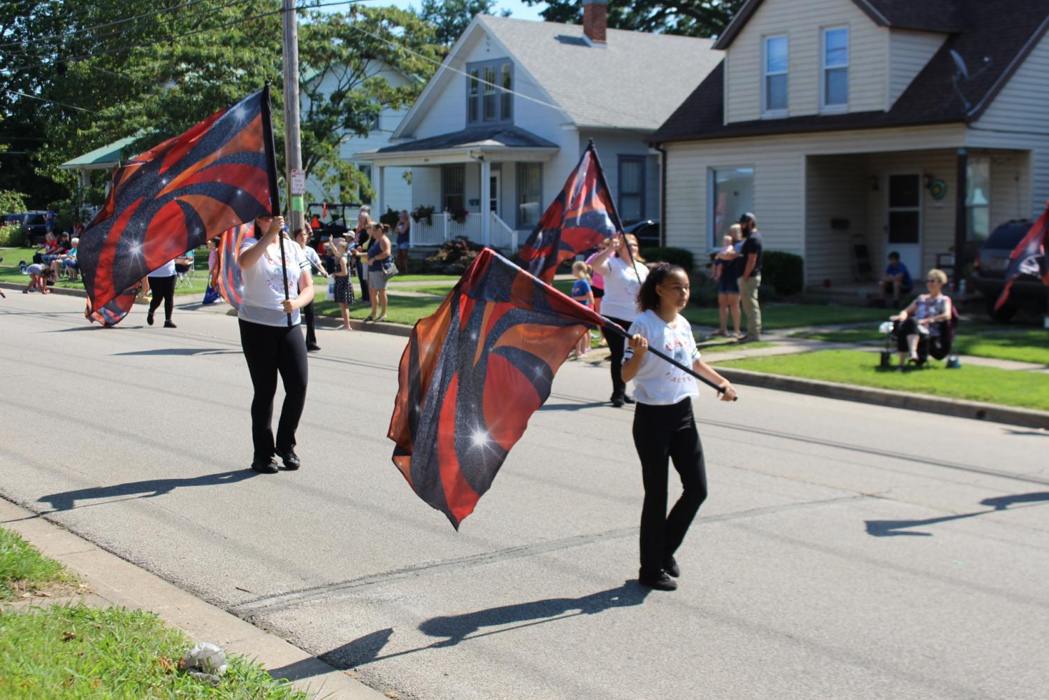 The CHS Flag Team joined the band at the Popeye Picnic.