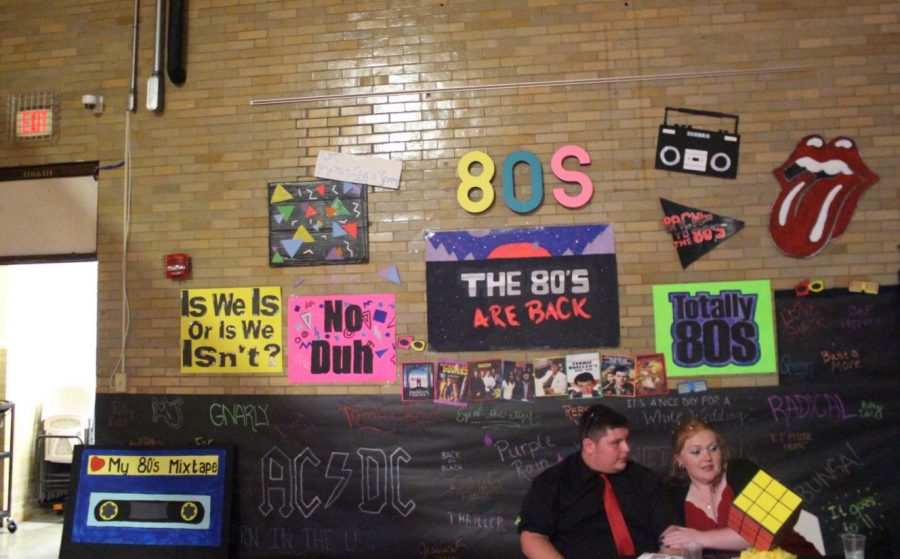 Each class decorated a wall for the Homecoming salute to the decades.