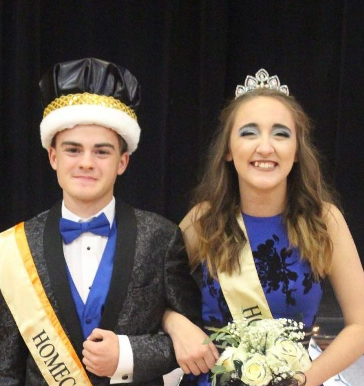 Cierra Creason right) was crowned queen and Chris Schwier king during the Chester High School Homecoming. Queen Cierra was crowned during halftime of the Chester-Vienna football game and King Chris received his crown during the dance on Oct. 5.