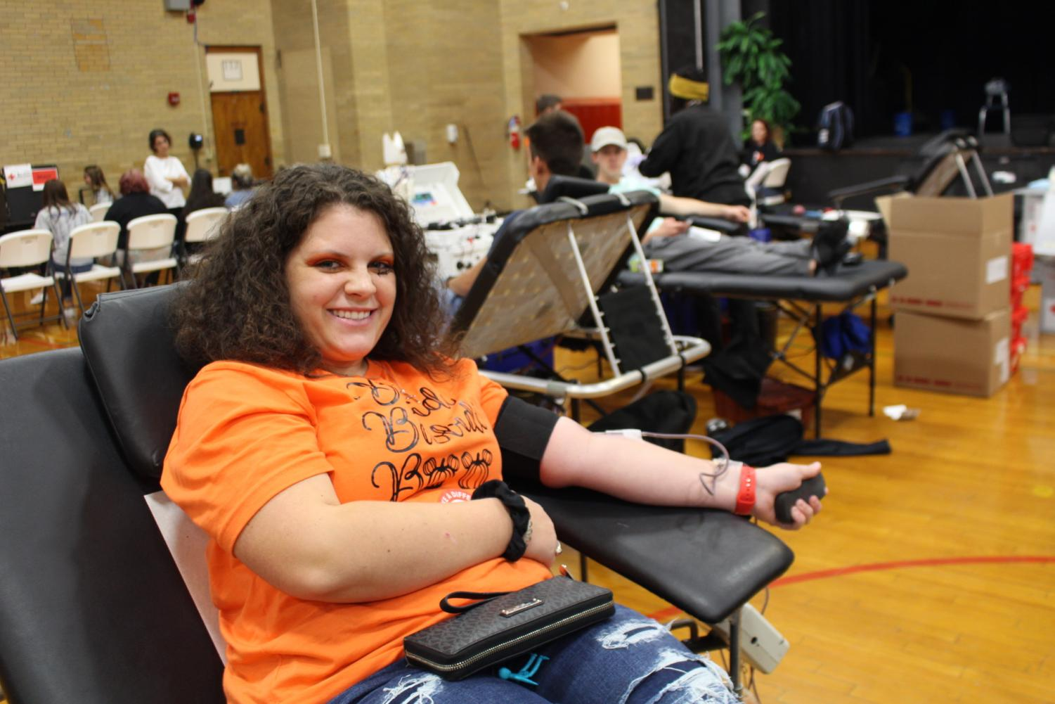 Maeghan Fuller donated blood at the drive Oct. 31.