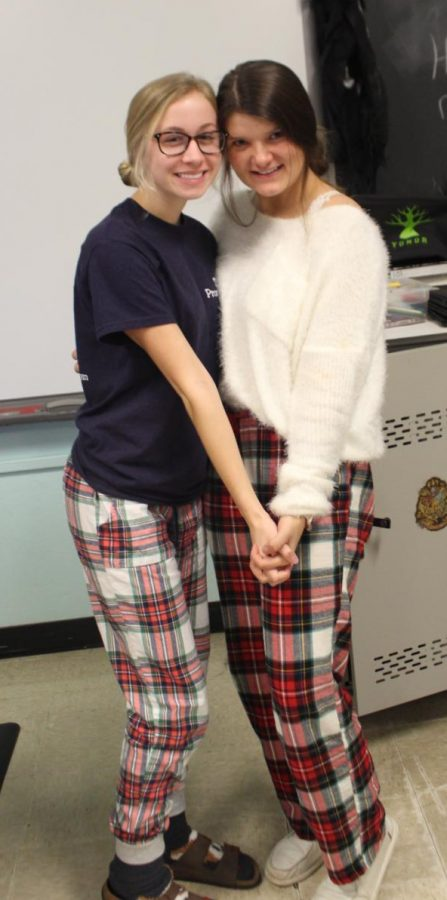 Addie Blechle and Grace Stec on Christmas Pajama Day.