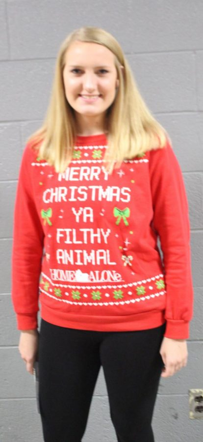 Ally Rowold goes home alone with her holiday sweater