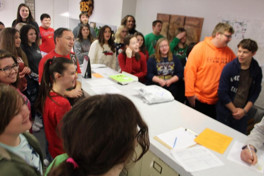 Swing Choir sang Happy Birthday to Mrs. Stegman.