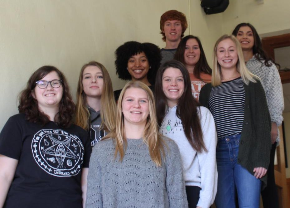 Illinois State Scholars are (front) Jaci South, Alyssa Place, Jessica Handel and Ashtyn Jany; (middle) Destiny Williams, Lauryn Vasquez and Adeline Blechle; and (back) Zack Houghlan and Amira Al-Jassim.