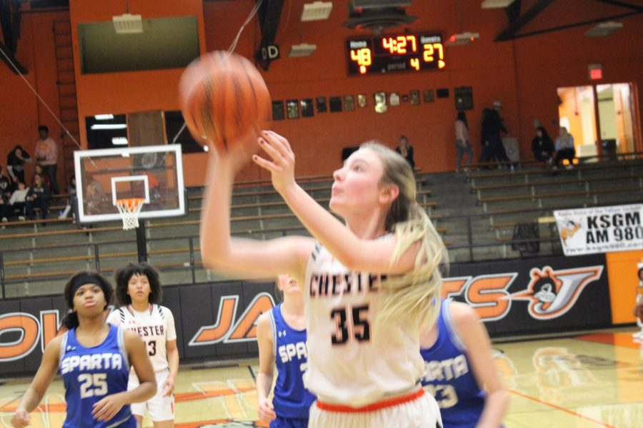 Audrey Hopper puts up a shot in the Chester win over Sparta.