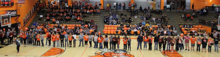 The band and dance teams were honored on Senior Night.