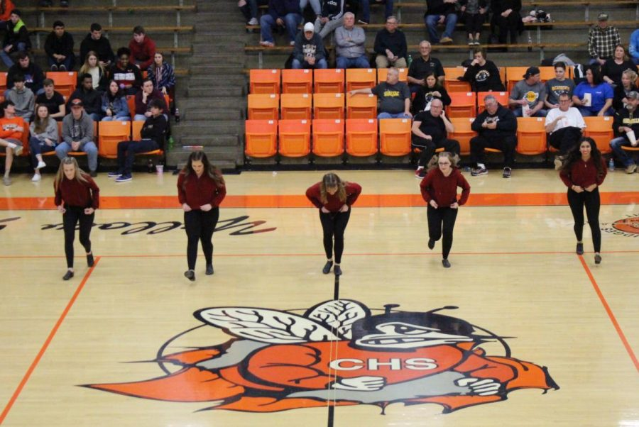 Senior dancers honored Feb. 18 were Avery Runge, Lauryn Vasquez, Mallary Vasquez, Madison Hasemeyer and Jocelyn Landeros.