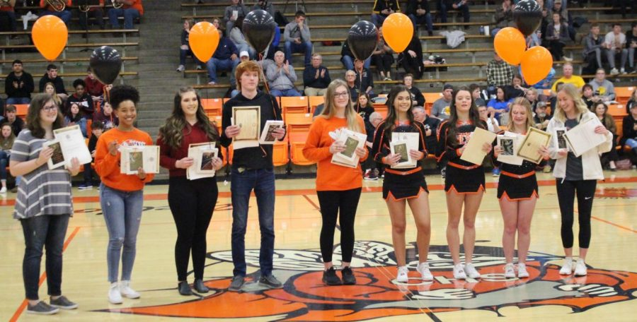 Illinois State Scholars honored on Senior Night were Jaci South, Destiny Williams, Lauryn Vasquez, Zack Houghlan, Alyssa Place, Amira Al-Jassim, Ashtyn Jany, Jessica Handel and Addie Blechle.