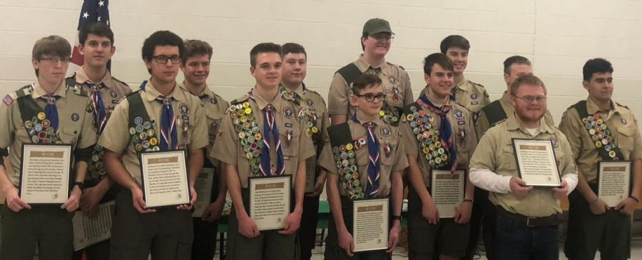 The Kaskaskia District recognized its Eagle scouts.