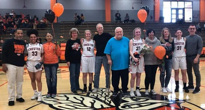 Chester Lady Jackets honored with their parents on Senior Day were Destiny Williams, Ally Rowold, Audrey Hopper and Trinity Brown.