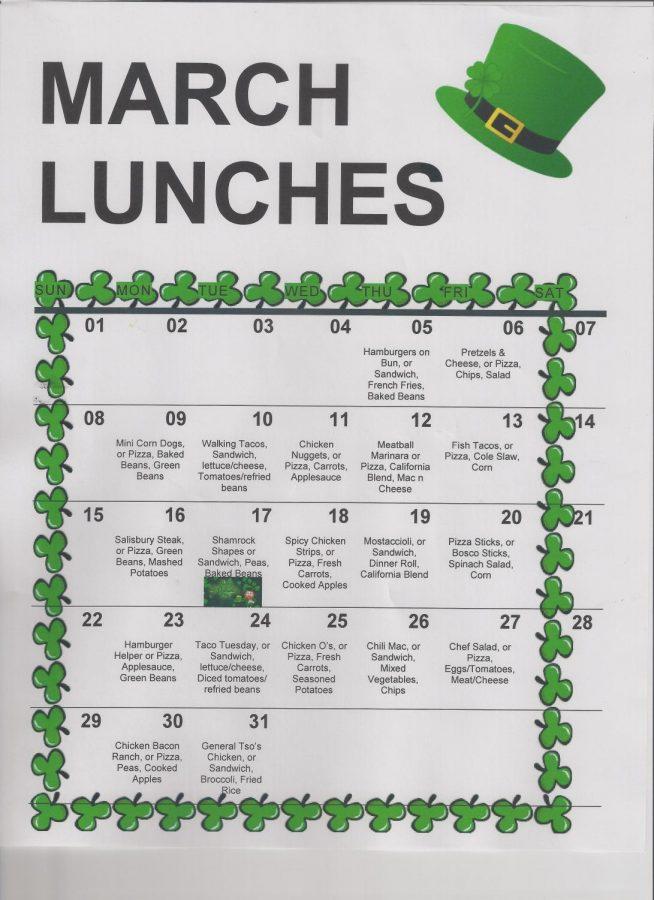March Lunch Menus
