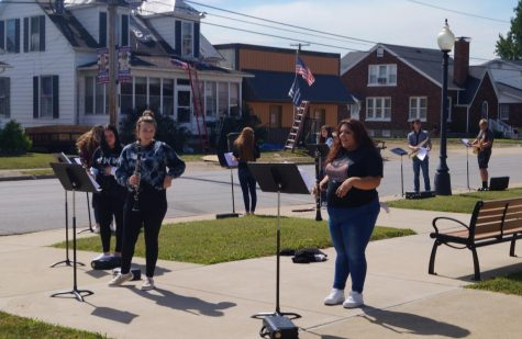 Oddessy Flores prepares to perform as Chester musicians took their classes outdoors Sept. 24.