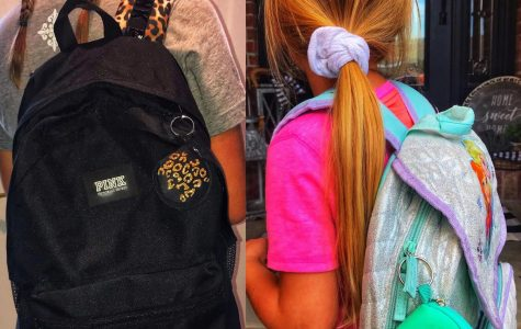 Students can clip Macey Ludwig's mask holders onto their backpacks.
