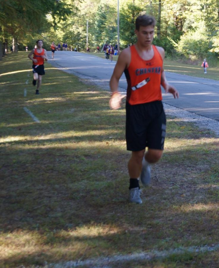 Jordan Hughes finished ninth in the Chester Invitational Oct. 1. He is followed by Chesters Blake Farmer, who finished tenth.