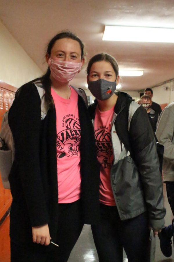 Lily Koch and Melody Colonel wore pink on Tuesday in observance of Breast Cancer Awareness Month.