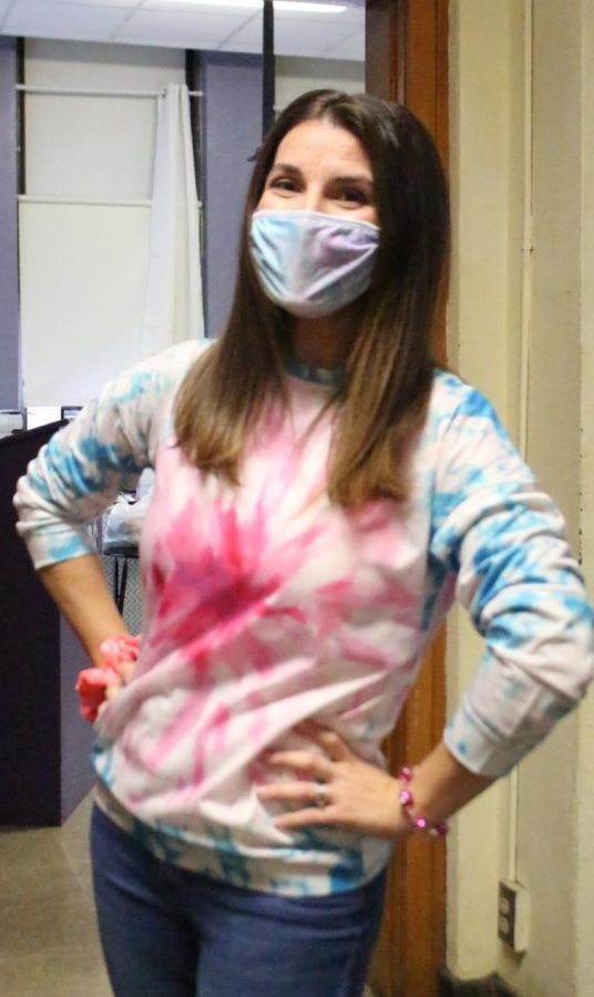 Mrs. Hammel pimked out in observance of Breast Cancer Awareness Month.