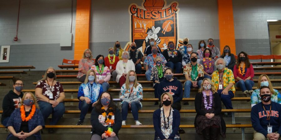 Chester High School teachers wore Hawaiian shirts and Illini sportswear Jan. 28 in tribute to the late Mr. Spears. Mr. Spears, who passed away Jan. 24, was a graduate of the University of Illinois. The late math teacher also initiated the teacher tradition of wearing Hawaiian shirts on Fridays.