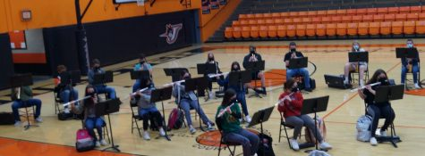 The Chester High school Band rehearses for the IHSA organizational contest.