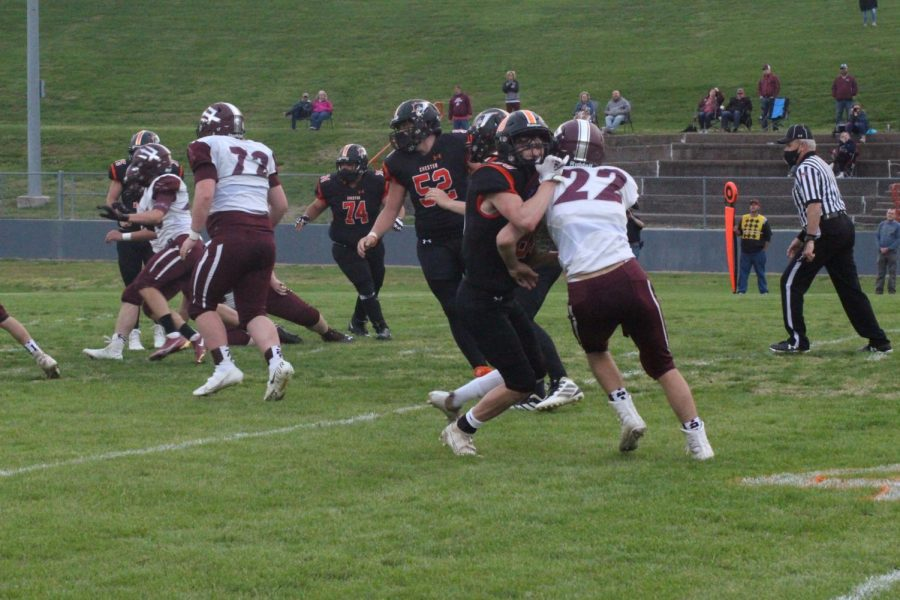 Justin Clendenin, throwing a block, had a key interception in the win over Sesser.