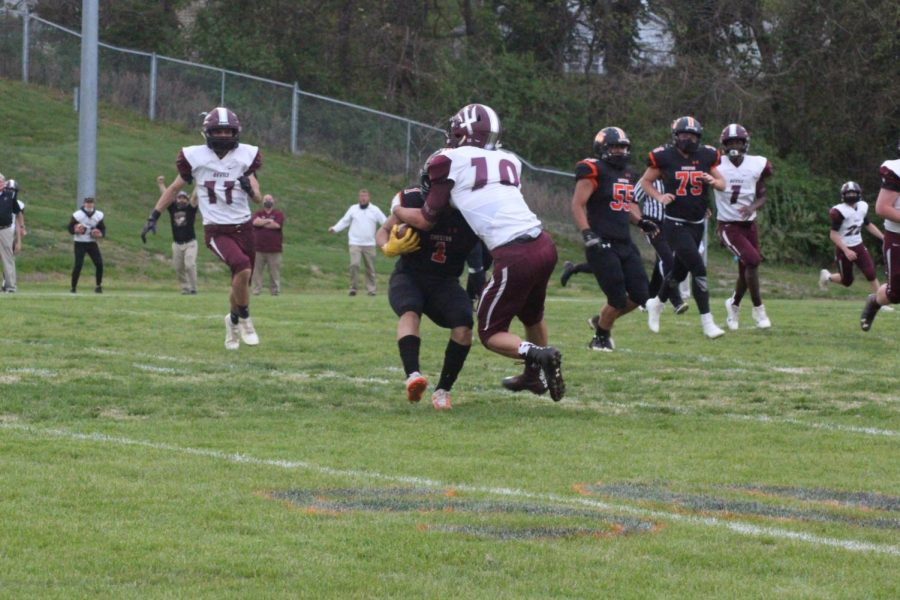 Jordan Merideth (1) (pictured in the game against Sesser), scored two touchdowns against Carmi.