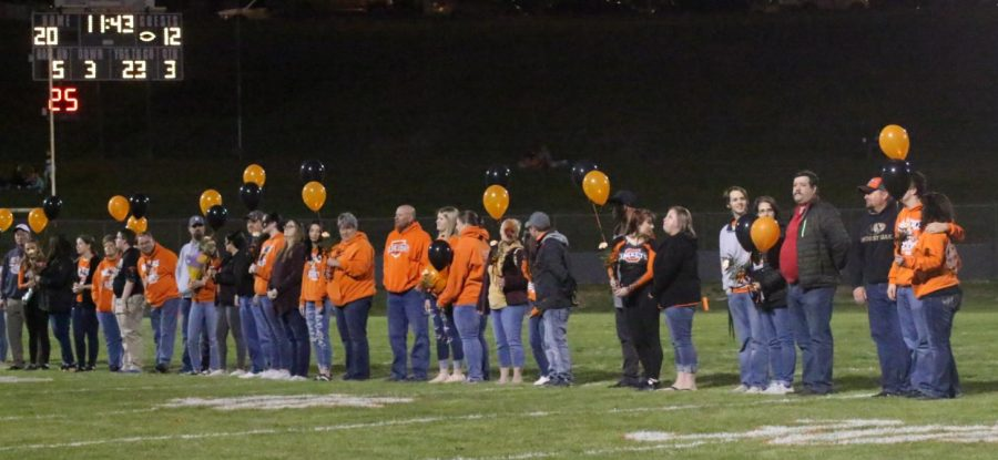 Seniors were recognized at the Chester-Christopher football game.