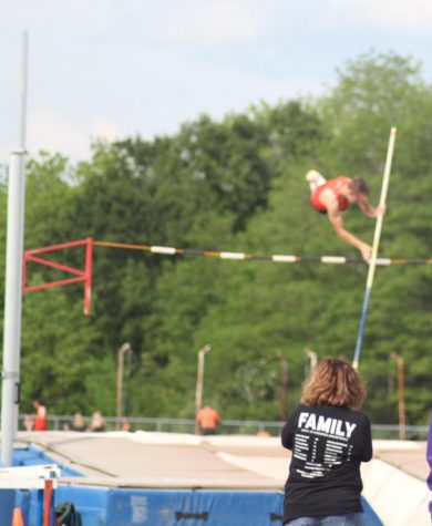 Jake Cowell won the pole vault at the Rocky Bridges meet on May 20.