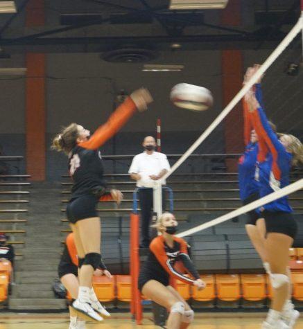 Paige Vasquez goes to the net against Wesclin.